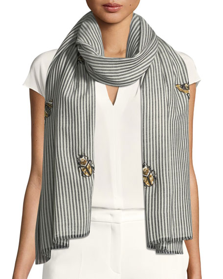 Don't Bug Me Striped Embellished Scarf