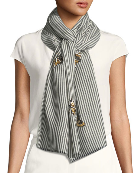 K Janavi Don't Bug Me Striped Embellished Scarf