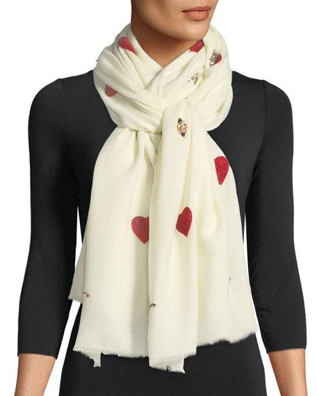 K Janavi Hearts & Matchsticks Embellished Scarf