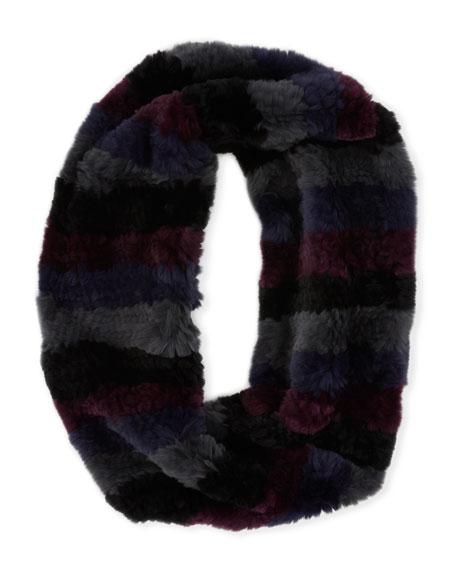 Horizontal Stripe Knitted Fur Infinity Scarf