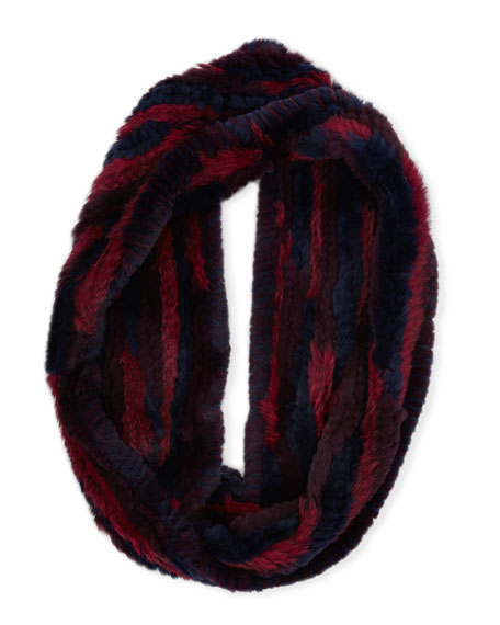 Long Hair Rabbit Fur Infinity Scarf