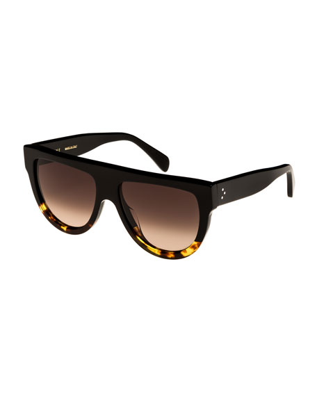 Celine Flattop Two-Tone International-Fit Shield Sunglasses,