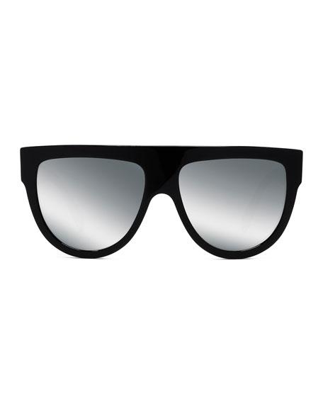 Flattop Gradient Shield International-Fit Sunglasses, Black Pattern