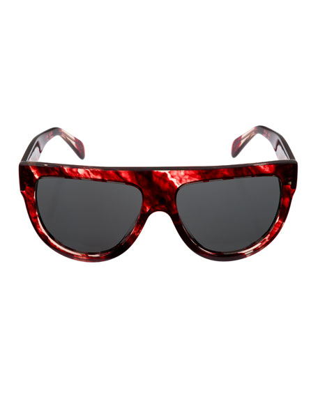 Flattop Monochromatic Shield Sunglasses, Red Pattern