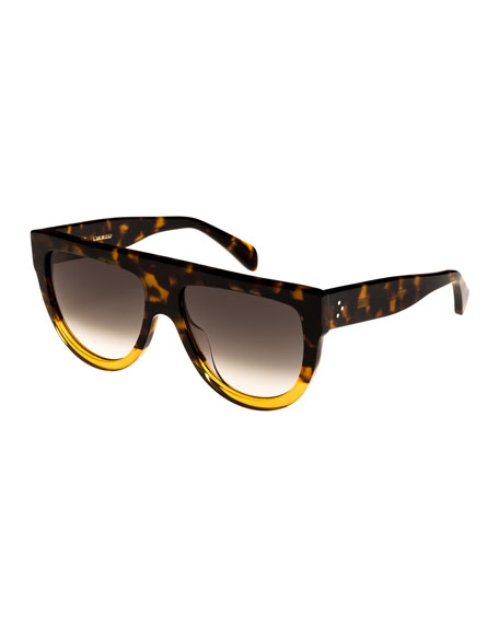 Celine Flattop Two-Tone Shield Sunglasses, Brown Pattern