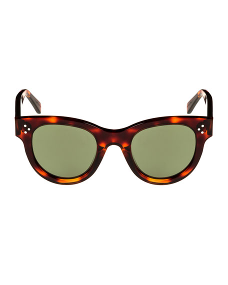 Studded Acetate Sunglasses w/ Mineral Lenses, Brown