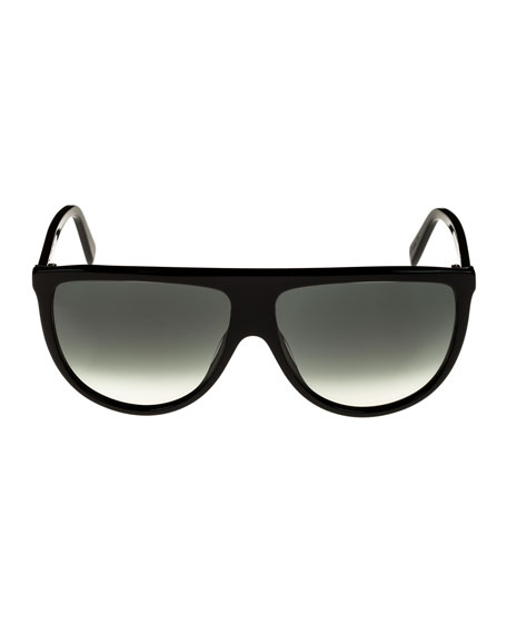Flattop Gradient Shield International-Fit Sunglasses, Black