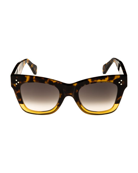 Two-Tone Gradient Cat-Eye Sunglasses, Dark Brown