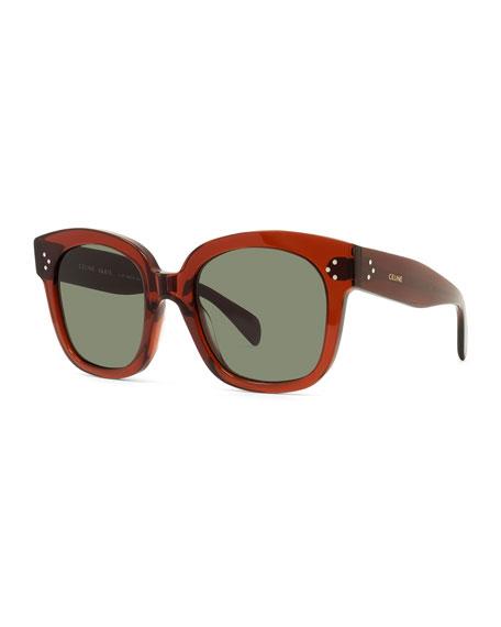 Celine Square Gradient Acetate Sunglasses, Black Pattern