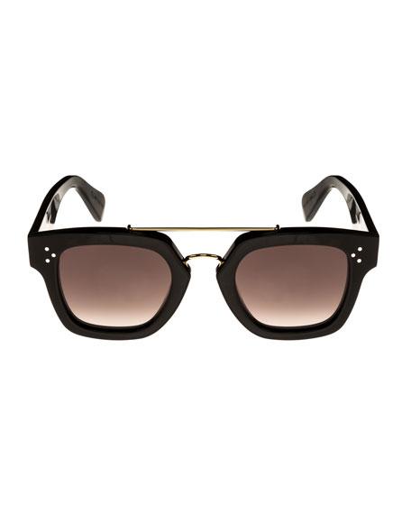 Square Gradient Acetate & Metal Sunglasses, Black