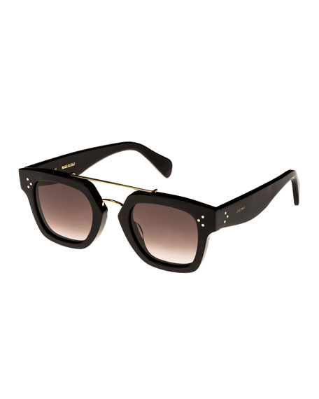 Celine Square Gradient Acetate & Metal Sunglasses, Black