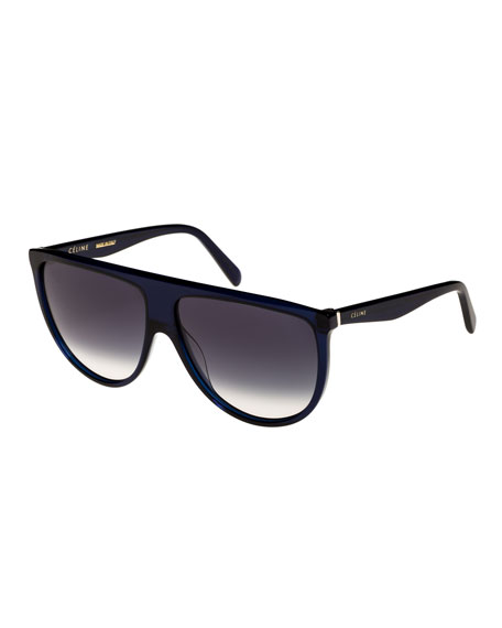Flattop Gradient Shield International-Fit Sunglasses, Blue Pattern