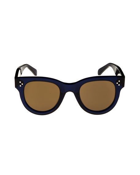 Studded Round Acetate Sunglasses, Blue Pattern