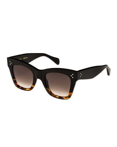 Two-Tone Gradient Cat-Eye Sunglasses, Black Pattern
