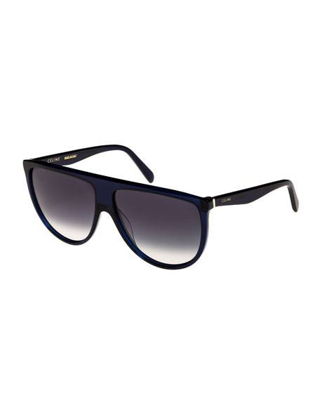 Celine Flattop Gradient Shield Sunglasses, Blue Pattern