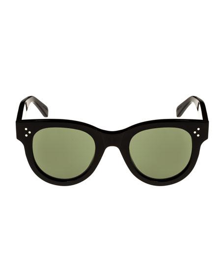 Studded Acetate Sunglasses w/ Mineral Lenses, Black