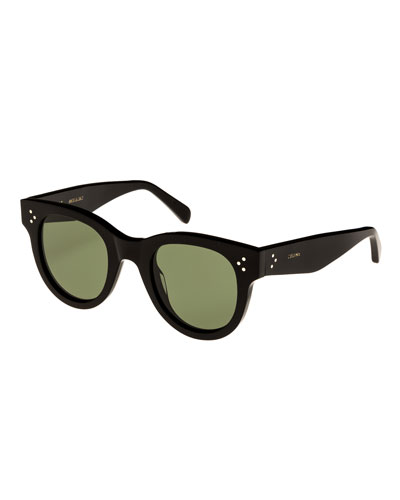 Studded Acetate Sunglasses w/ Mineral Lenses, Black