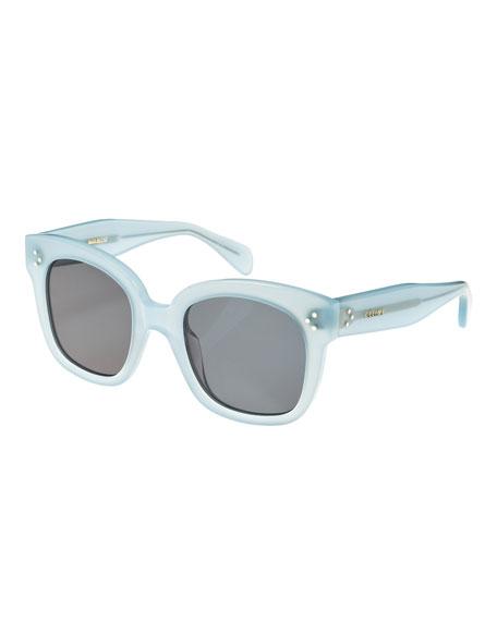 Square Monochromatic Acetate Sunglasses, Blue Pattern