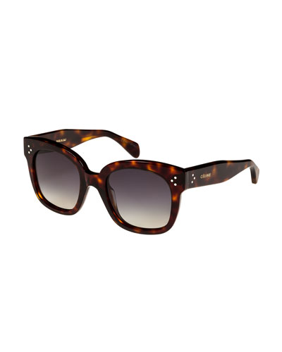 Square Polarized Acetate Sunglasses, Blue Pattern