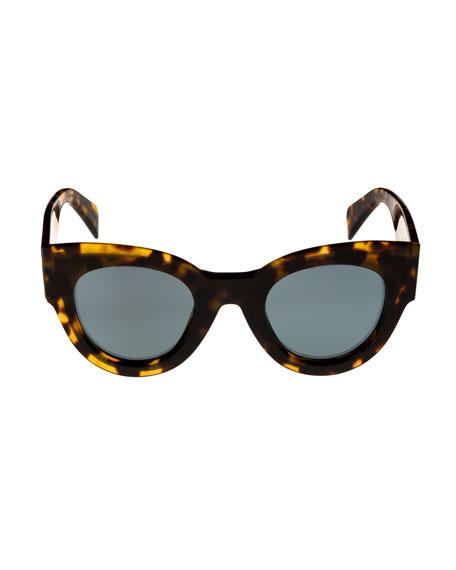 Acetate Cat-Eye International-Fit Sunglasses, Medium Brown