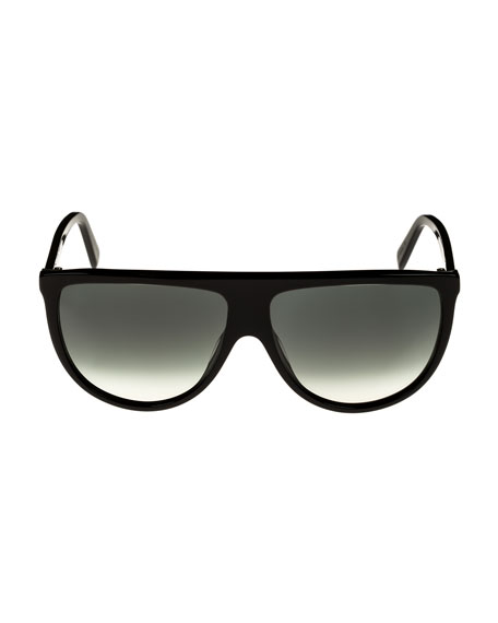 Flattop Gradient Shield Adjusted-Fit Sunglasses, Black