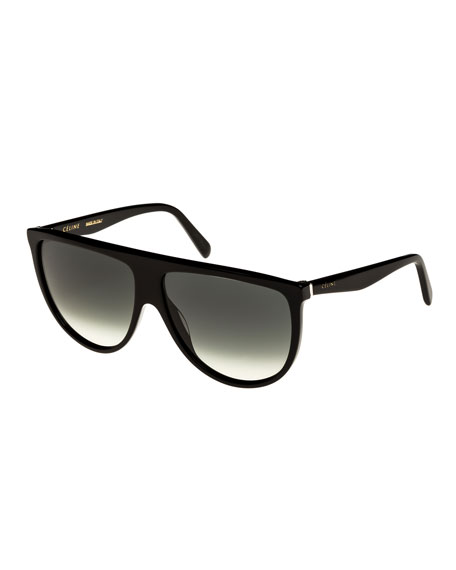 Celine Flattop Gradient Shield Adjusted-Fit Sunglasses, Black