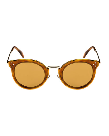 Round Acetate & Metal Sunglasses w/ Mineral Lenses, Medium Brown