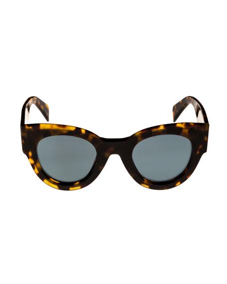 Acetate Cat-Eye Adjusted-Fit Sunglasses, Medium Brown