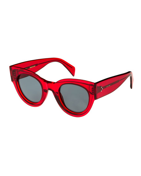 Studded Cat-Eye Acetate International-Fit Sunglasses, Red Pattern