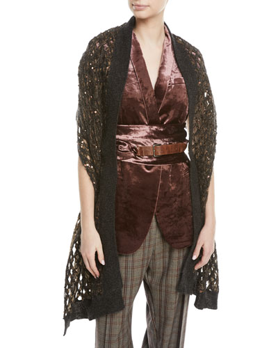 Mohair-Blend Netted Scarf w/ Paillettes