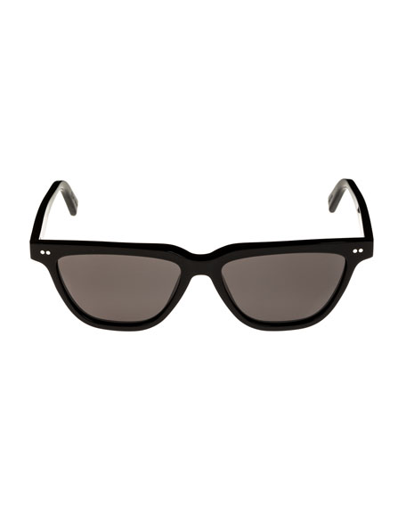 Cat-Eye Monochromatic Acetate Sunglasses, Black