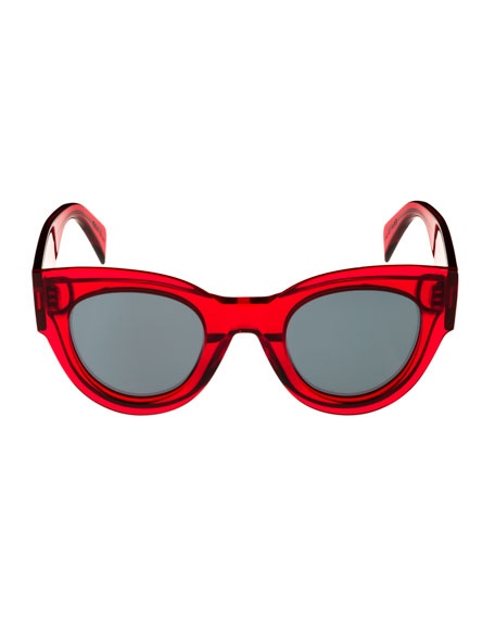 Studded Cat-Eye Acetate Adjusted-Fit Sunglasses, Red Pattern