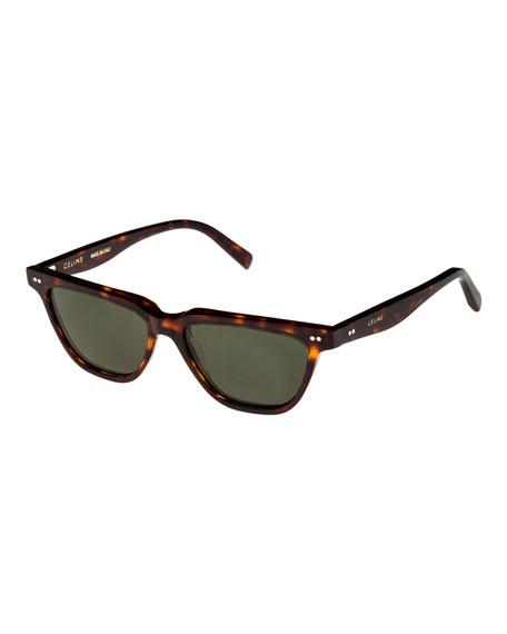 Celine Cat-Eye Monochromatic Acetate Sunglasses, Dark Brown