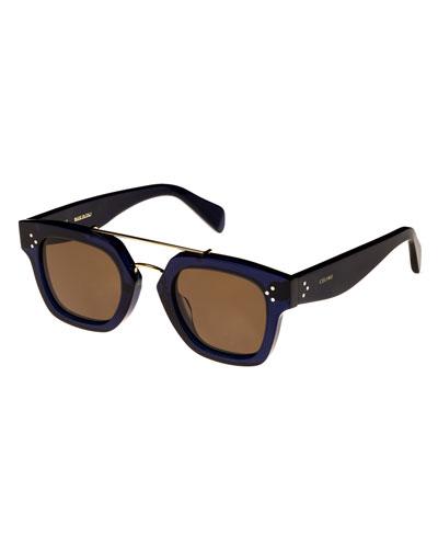 Square Monochromatic Acetate & Metal Sunglasses, Blue Pattern