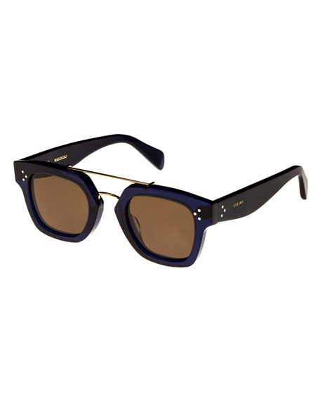 Celine Square Monochromatic Acetate & Metal Sunglasses, Blue