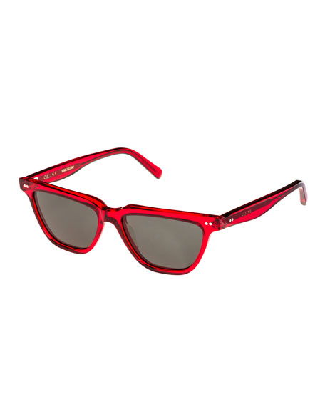 Celine Cat-Eye Monochromatic Acetate Sunglasses, Red Pattern