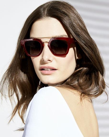 Square Gradient Acetate & Metal Sunglasses, Red Pattern