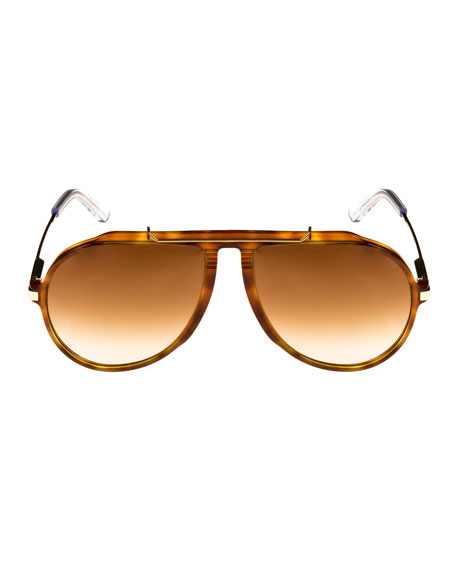 Gradient Acetate & Metal Aviator Sunglasses, Brown Metallic