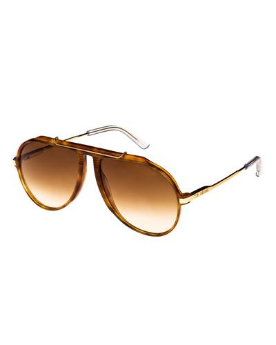Gradient Acetate & Metal Aviator Sunglasses, Brown Metallic