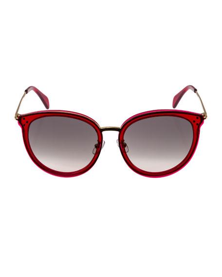 Round Acetate & Metal Gradient Sunglasses, Light Red