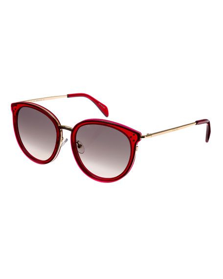 Celine Round Acetate & Metal Gradient Sunglasses, Light