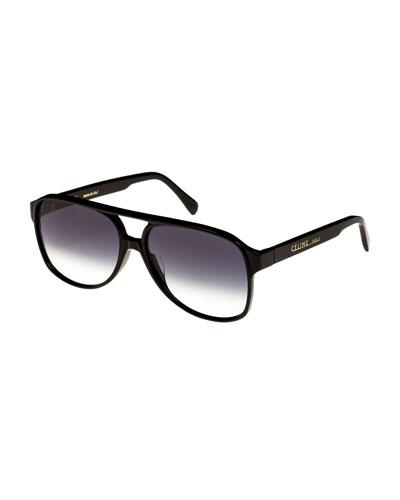 Mirrored Acetate Aviator Sunglasses, Black