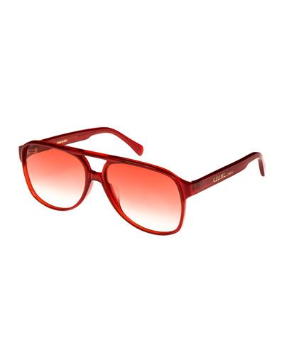 Gradient Acetate Aviator Sunglasses, Red Metallic