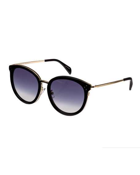 Celine Round Acetate & Metal Gradient Sunglasses, Black