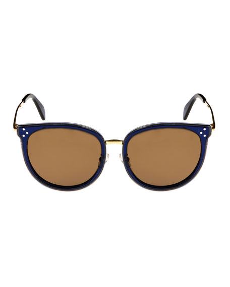 Round Acetate & Metal Monochromatic Sunglasses, Medium Blue