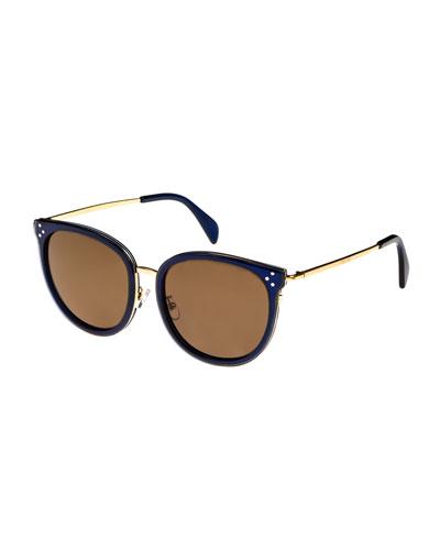 Round Acetate & Metal Monochromatic Sunglasses, Medium Blue