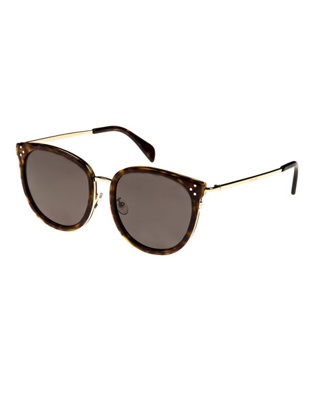 Celine Round Acetate & Metal Monochromatic Sunglasses, Light