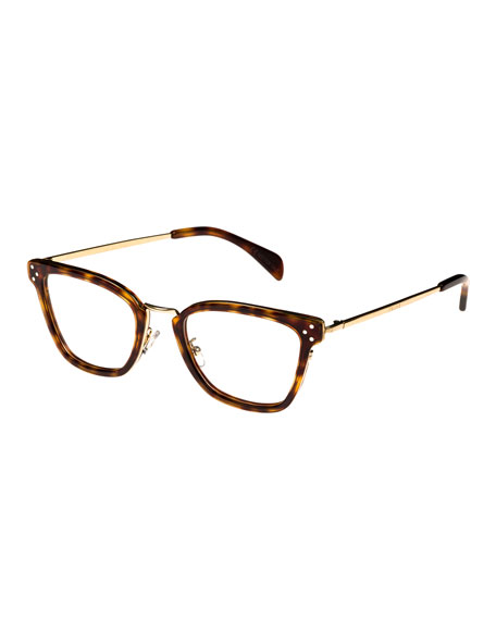 Square Acetate & Metal Optical Frames, Light Brown