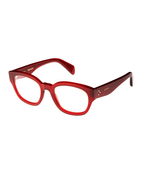 Celine Rectangle Acetate Optical Frames, Light Red