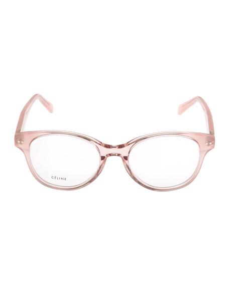 Round Acetate Optical Frames, Pink